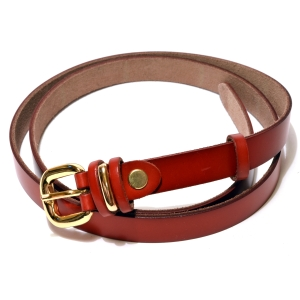Ремень женский кожаный бордовый