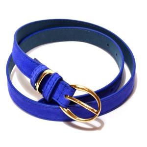 Ремень женский замшевый с золотистой пряжкой синий