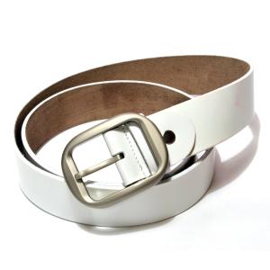 Ремень кожаный белый с матовой серебристой пряжкой
