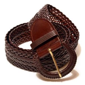 Ремень женский кожаный плетеный широкий коричневый