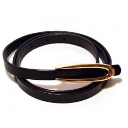 Ремень женский кожаный узкий черный