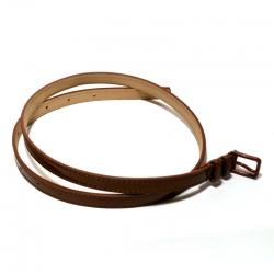 Ремень женский кожаный лаковый коричневый