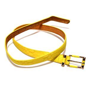 Ремень женский кожаный желтый  (кожа рептилий)