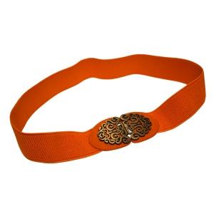 Ремень-резинка коричневого цвета с металлической пряжкой