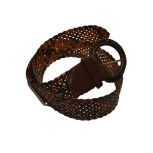 Ремень женский кожаный плетеный широкий  темно-коричневого цвета