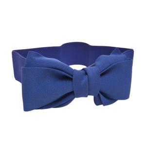Ремень-резинка с бантиком синего цвета