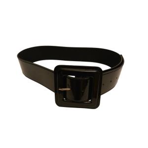 Стильный ремень кожаный лаковый черного цвета с большой пряжкой