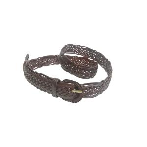 Ремень женский кожаный плетеный (коричневый)
