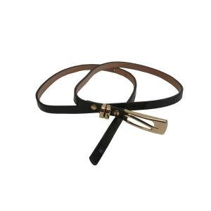 Ремень женский кожаный узкий (черный)