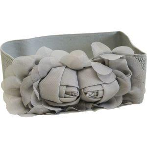 Ремень-резинка с розами стального цвета