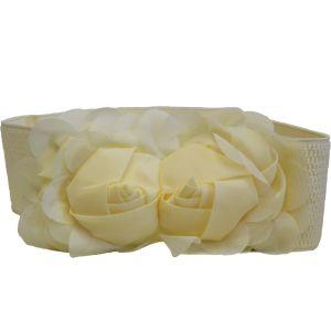 Ремень-резинка с розами сливочного цвета