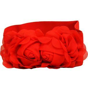 Ремень-резинка с розами красного цвета