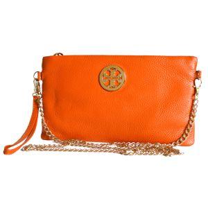 Клатч кожаный оранжевого цвета