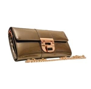 Театральный клатч лаковый дымчато-бронзового цвета