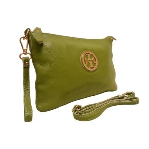 Клатч кожаный  зелёный