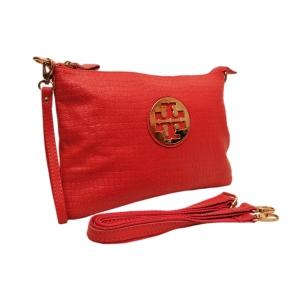 Клатч кожаный  красный