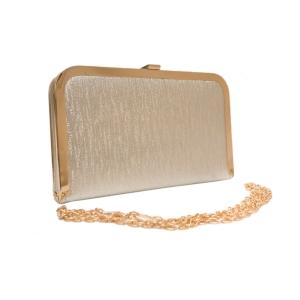 Клатч молодёжный прямоугольный серебристого цвета с цепочкой