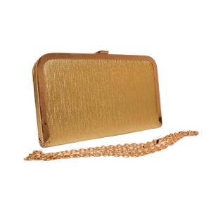 Клатч прямоугольный молодёжный золотистого цвета с цепочкой