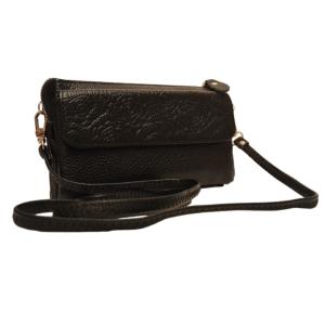 Маленький вместительный женский кожаный клатч чёрного цвета