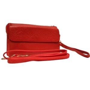 Миниатюрный молодёжный кожаный клатч красного цвета