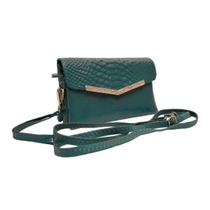 Стильный миниатюрный кожаный клатч  бирюзового цвета