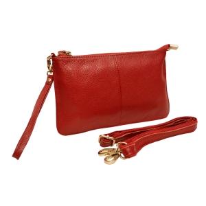 Клатч практичный кожаный красный
