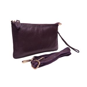 Клатч удобный кожаный фиолетовый