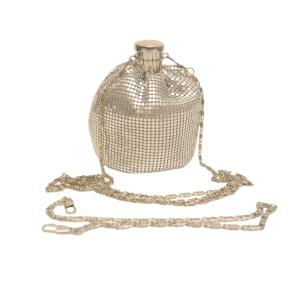 Необычный оригинальный клатч серебристый металлизированный