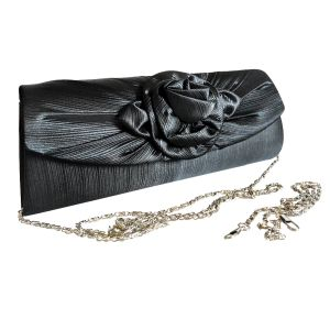 Клатч для торжественных случаев серо-черного цвета с цветком в центре