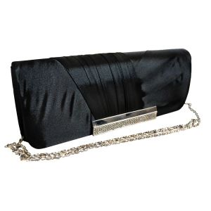 Красивый клатч черного цвета  с металлической вставкой для выхода в свет