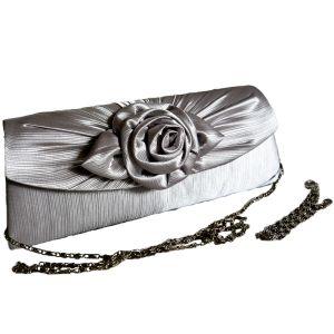 Клатч для торжественных случаев серебристый с цветком