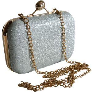 Серебристый искрящийся миниатюрный праздничный клатч