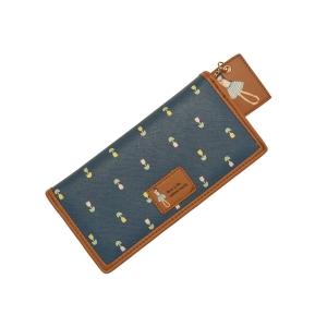 Современный молодежный кошелёк синий с лилиями