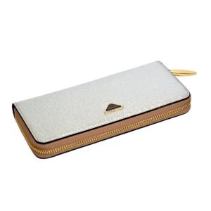 Женский кошелёк-клатч серебристого цвета