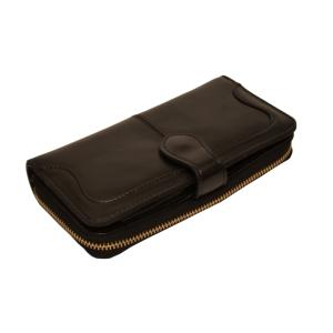 Кошелёк женский кожаный чёрного цвета с клапаном