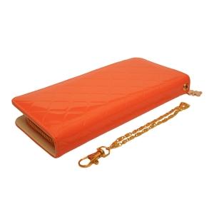 Кошелек яркий лаковый оранжевого цвета