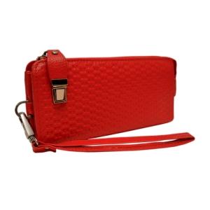 Кошелек-клатч вместительный кожаный красного цвета для ношения на кисти