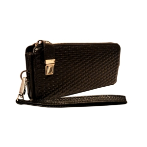 Кошелек-клатч вместительный кожаный черного цвета для ношения на кисти