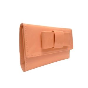 Небольшой кошелёк женский из лаковой кожи с бантиком персикового цвета