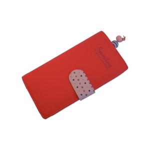 Молодежный оригинальный кошелек арбузного цвета с застежкой в горошек
