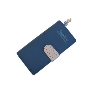 Молодежный кошелек синего цвета с застежкой в горошек