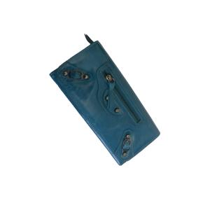 Женский кошелёк цвета аквамарин из натуральной кожи