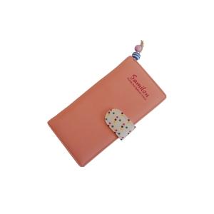 Молодежный оригинальный нежно-розовый  кошелек с застежкой в горошек