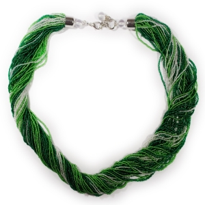 Колье (Morgana) зелено-бело-салатовое