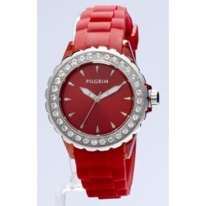 Женские часы Pilgrim Silver Red на каучуковом ремешке