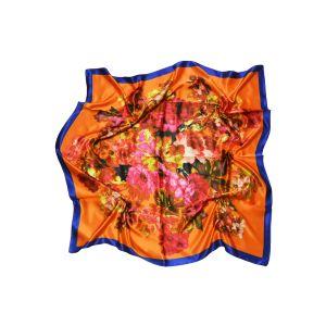 """Платок """"Гобелен. Цветы на оранжевом"""""""