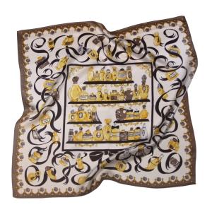 Платок шейный шелковый парфюм золотистый