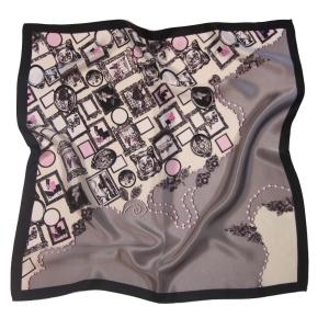 Платок шейный шелковый ампир розово-голубой