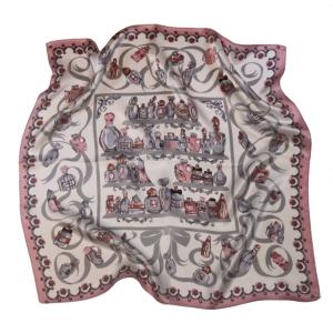Платок шейный шелковый парфюм розовый