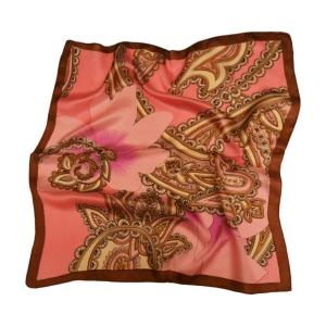 """Лиловый шейный платок из натурального шелка """"Узоры Пейсли"""""""